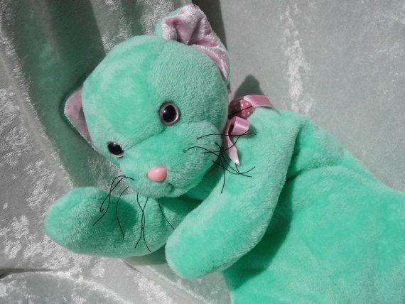 Seafoam KITTEN Aqua Cat  Soft cuddly stuffed by TALLhappyCOLORS, €67.00