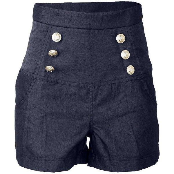 Sailor Denim Nautical Anchor Rockabilly High Waist Women's Shorts... ($20) ❤ liked on Polyvore featuring shorts, high rise shorts, denim shorts, mini shorts, high waisted short shorts and sailor shorts