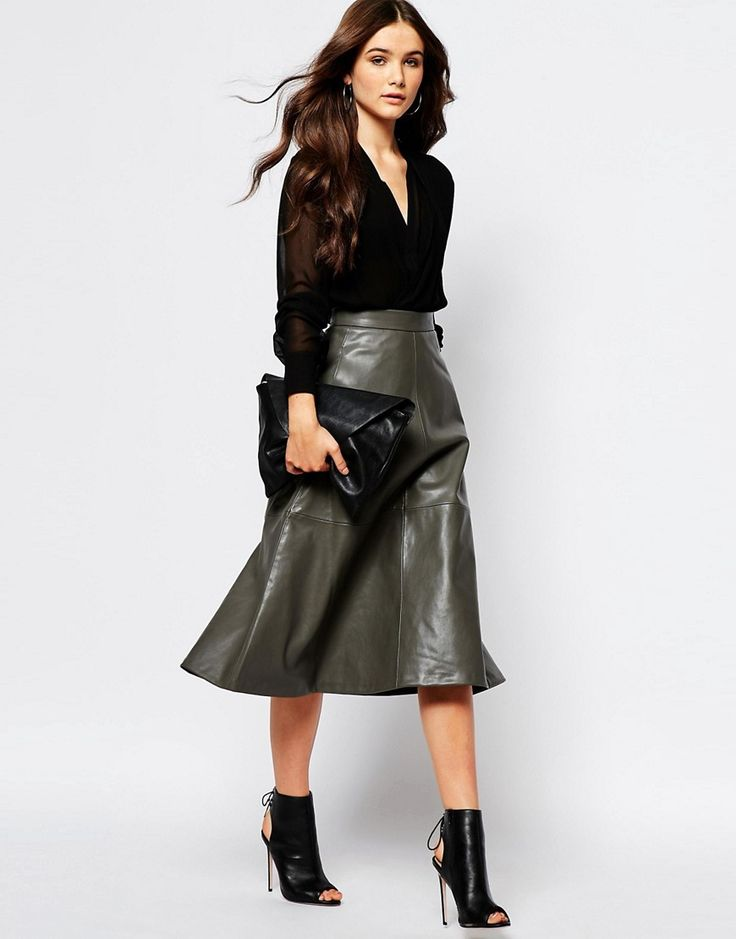 Image 1 of Mango A Line Midi Faux Leather Skirt