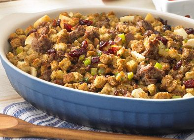 Cranberry Apple Sausage Stuffing made with Johnsonville Original Ground Breakfast Sausage