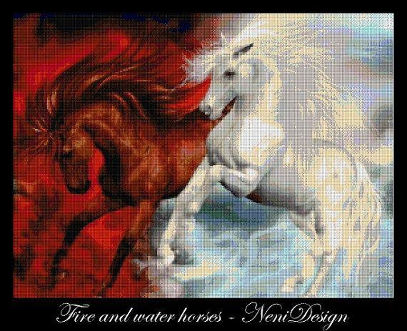 Fire and water horses  cross stitch pattern  PDF by NeniDesign