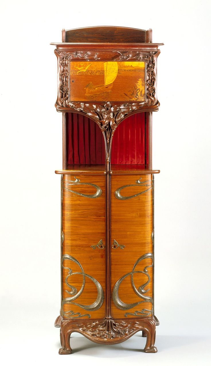 Art Deco Nouveau: Cabinet: Kingwood, Mahogany, Amaranth, Metal, Silk, About