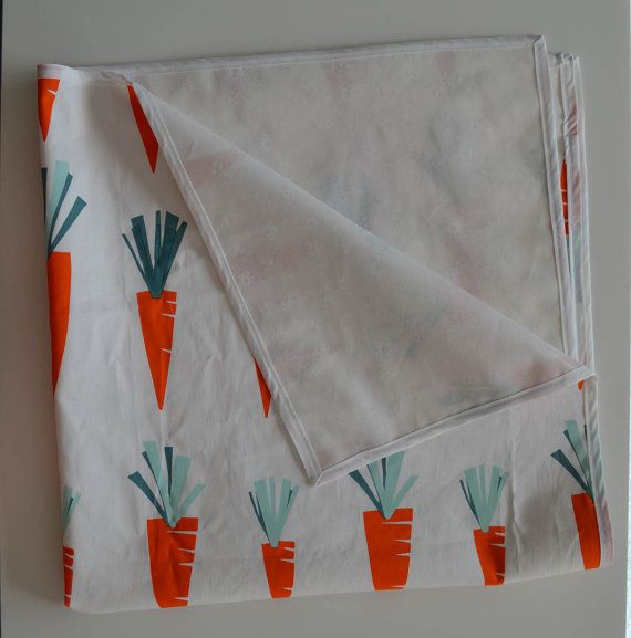 Baby High Chair and Mess Mat - White flower laminated cotton - easy to wipe clean. With cute carrots cotton fabric outer and white trim. Easy to fold up. Perfect for dinner time and so many other mess free uses!