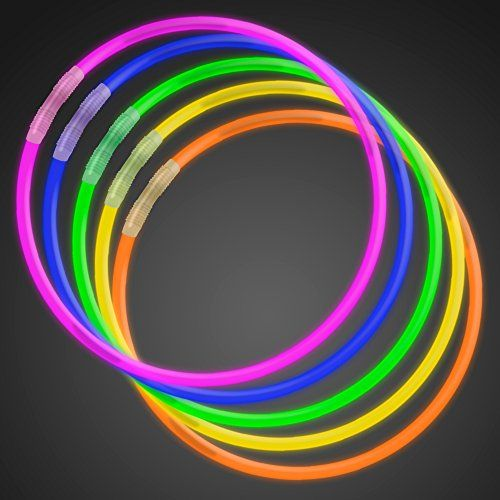 "50 22"" Premium Glow Stick Necklaces Assorted Colors Glowsticks"