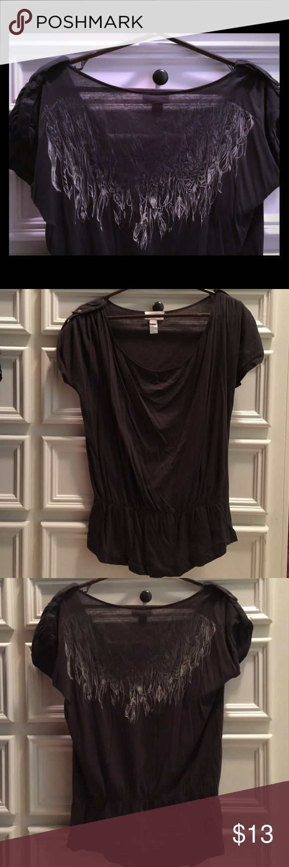 ⬇️SALE!⬇️ Diesel gray top w/graphic on back L Charcoal gray Diesel top with military shoulders and gathered low waist. Reverse high low hemline. Solid front and wing graphic on back. Size large. Diesel Tops