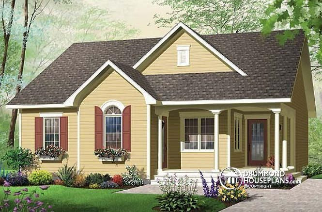 W3118 affordable 2 bedroom bungalow with kitchen island for Affordable bungalow house plans