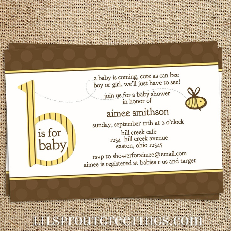 bee neutral baby shower invitation printable