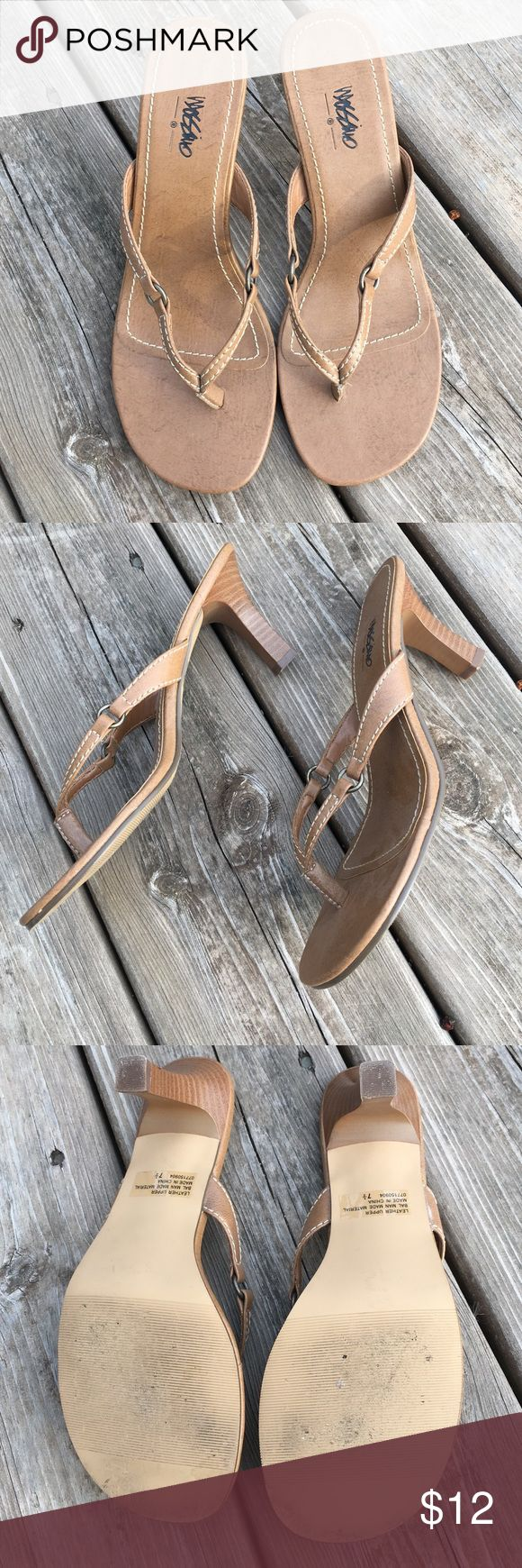 Mossimo dressy sandals GUC dressy sandals by Mossimo.  Minimal signs of wear.  No scuffs and very little dirt.  Bronze circle add a little flare to the straps.  This is a great neutral sandal. Heel measures approx 3 1/4 inches. Mossimo Supply Co Shoes Sandals
