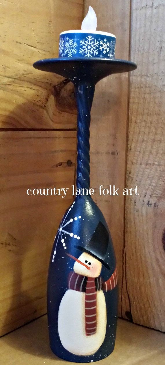 Snowman candle holder champagne flute hand by countrylanefolkart.  These are so pretty.  Love this idea.