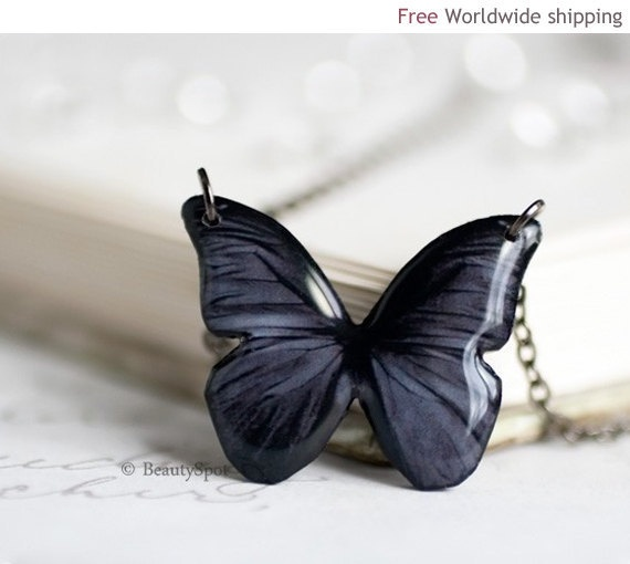 Black Butterfly necklace  Gift for her under 25  by BeautySpot, $22.00