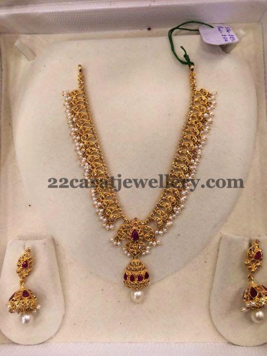 Jewellery Designs: Jhumka Locket Embellished Necklace
