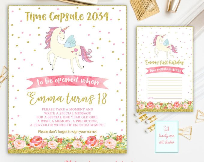 Unicorn Time Capsule Sign, Time Capsule Sign, Pink and Gold Time Capsule First Birthday+Matching Note Cards, Magical Unicorn