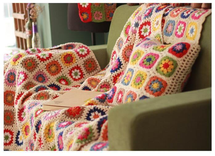 かぎ針編みのベッドカバー- Aliexpress.com経由、中国 かぎ針編みの ... 150 × 100センチ手作りかぎ針編み牧歌空調ブランケットかぎ針編みブランケットベッドカバーソファ