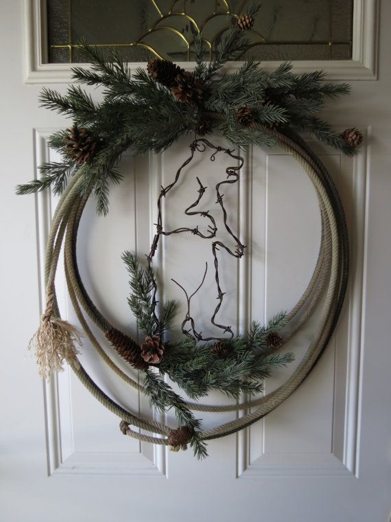 Rustic Cowboy Rope Wreath w/ Barbed Wire Grizzly Bear
