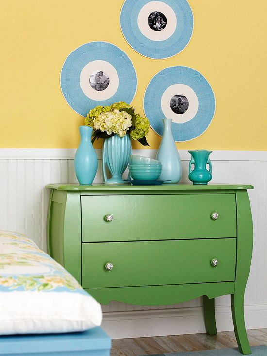 Use vinyl records from the thrift store to make photo frames.