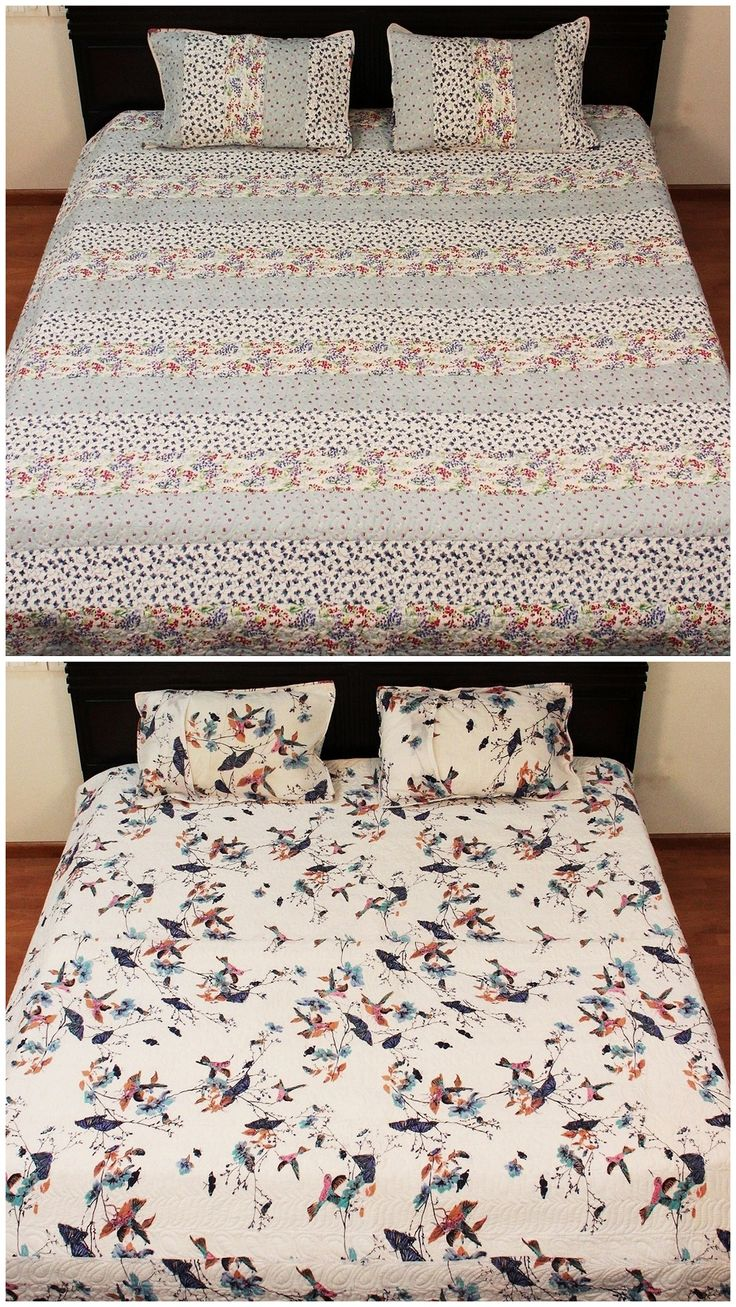 Floral White Quilt Reversible Blanket Queen Size Bed Cover Quilt Decorative Home Comforter