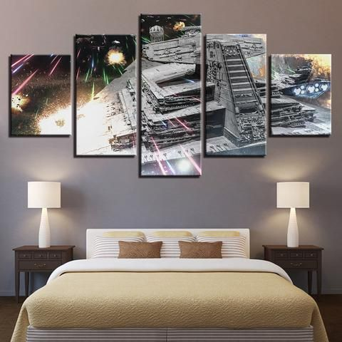 5 Pieces Star Wars Space Star Destroyer Paintings Canvas Wall Art