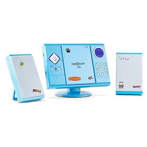 oneConcept V-12 Chaîne stéréo ultra-plate (lecteur CD-MP3, écran LCD, montage mural possible, ports USB SD, réveil via radio, CD ou buzzer,…