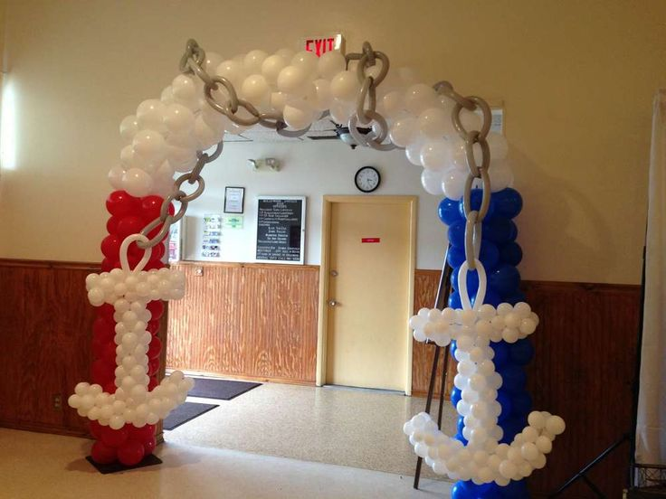Sailor nautical baby shower party ideas baby shower for Anchor balloon decoration