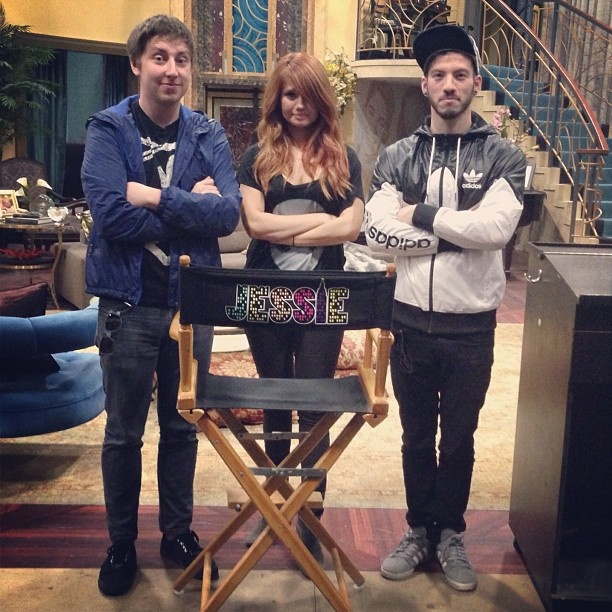 Mark Debby and Josh on the set of Jessie!