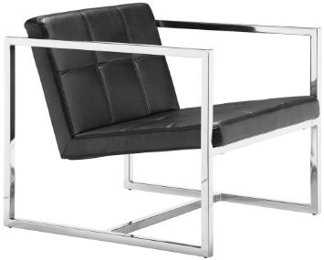 Love this Modern Chair w Polished Chrome Frame, Black Faux Leather Seat.