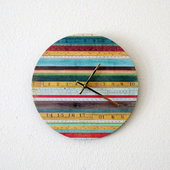Unique Wall Clock, Home Decor, Decor and Housewares, Home and Living, Cottage Chic Decor, Ruler Wall Clock sur Etsy, $50.84 CAD