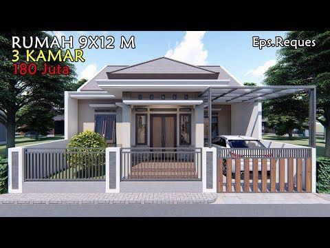 desain rumah 9x12 m dengan 3 kamar tidur - youtube di 2020