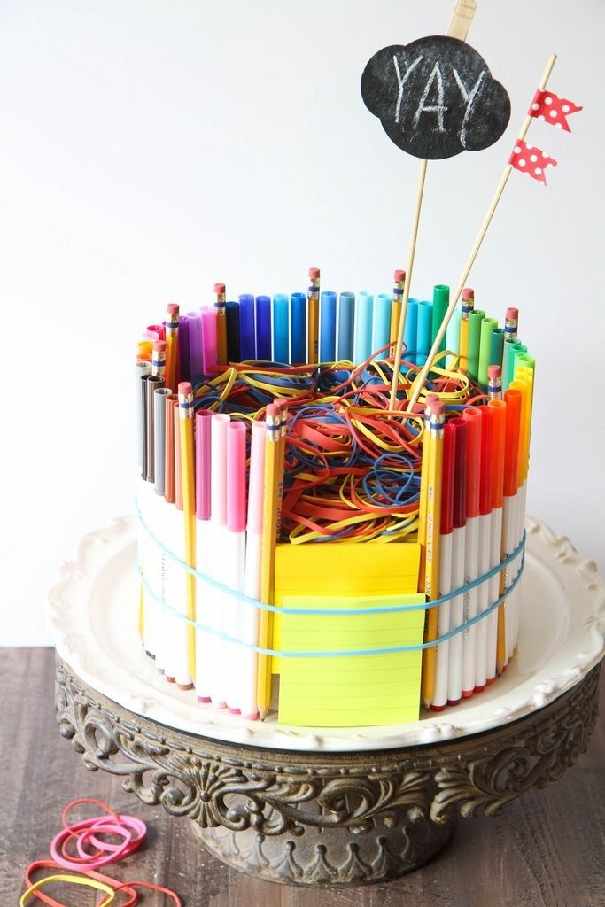 How to Make a School Supplies Cake from MomAdvice.com. Such a great gift for teachers or to celebrate back to school!
