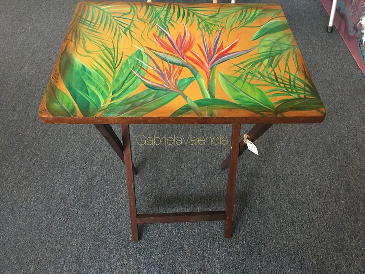 Hand painted Tv Tray table, tropical art, paradise of bird flowers art