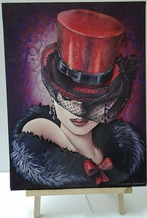 Tableau 3D Femme chapeau rouge 30x40