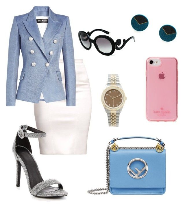"""Eva"" by valentina-viola-1 ❤ liked on Polyvore featuring Balmain, Prada, Fendi, Kate Spade, girlpower and powerlook"