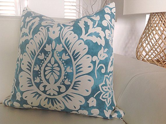 Turquoise Cushions Turquoise Pillows Tropical Pillows Ravello Style Cobalt Blue and Cream, Turquoise Blue and Ivory Designer Style Decor