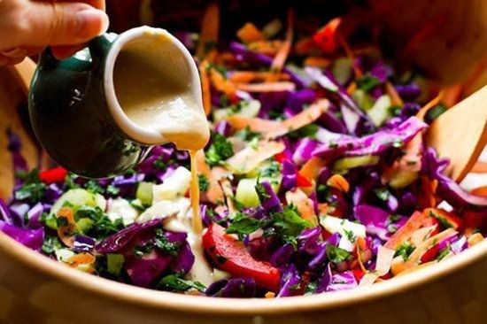 Rainbow Salad: you wont be able to stop eating the rainbow cabbage salad with tahini-lemon dressing from Oh She Glows.
