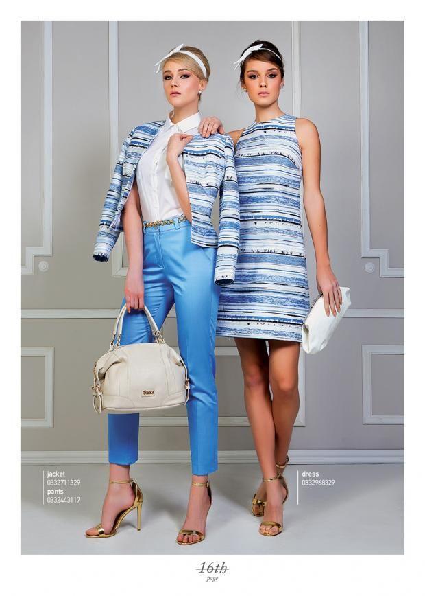 Light blue, striped jacquard.