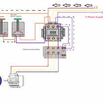 Contactor wiring for 3 phase motor with circuit breaker