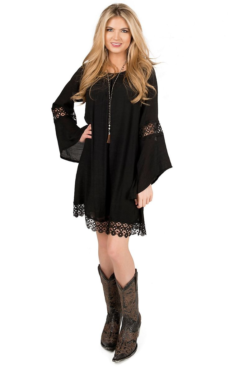 Wrangler Women's Black with Crochet Trim Long Sleeve Peasant Dress | Cavender's