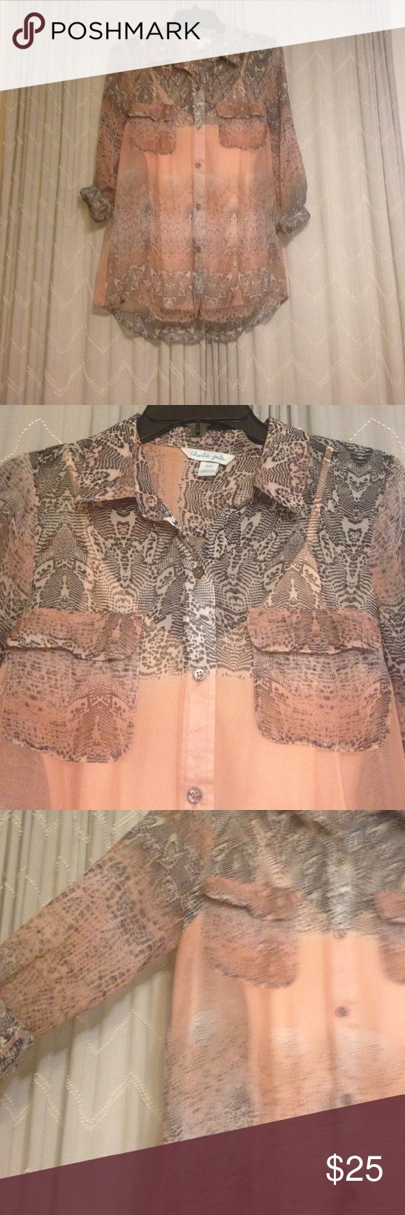 Charlie Jade button up blouse 100% Silk Charlie Jade brand. 100% Silk. Snake print button up blouse. Sheer. Silk Cami included Charlie Jade Tops Button Down Shirts