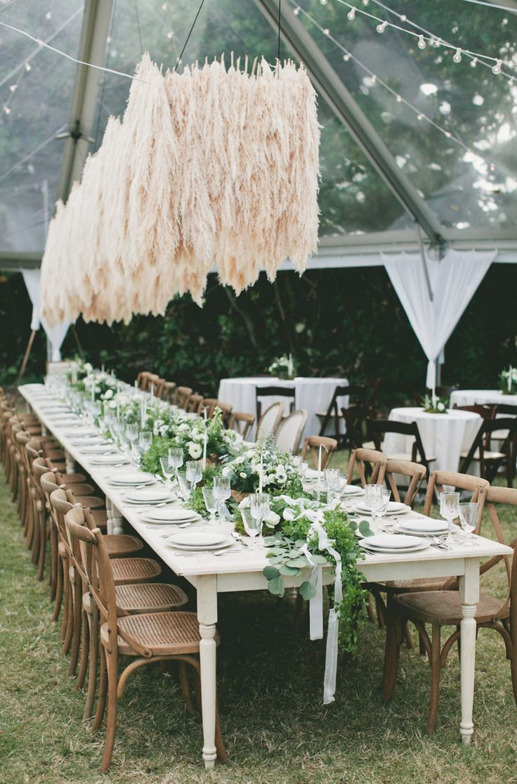 An Amazing Pampas Grass Chandelier Installation — Signature Boutique Event Rentals Maui, Hawaii
