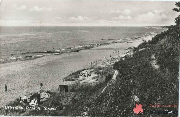 Jarosławiec plaża, kartka pocztowa z obiegu wysłana z Jarosławca 24.07.37