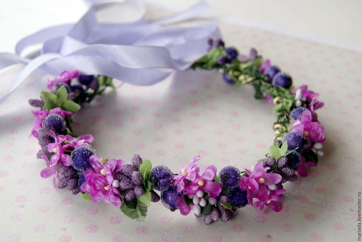 """Купить Веночек для волос """"Фиалка"""" - фиолетовый, венок на голову, венок из цветов, венок для фотосессии"""