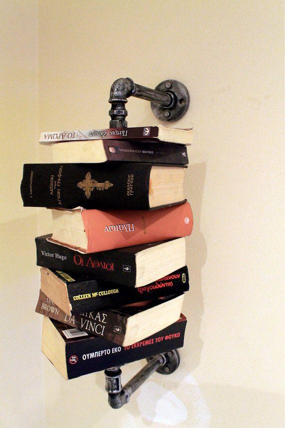 industrial pipe bookshelf old silver by RomanArtTheo on Etsy