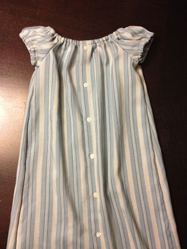 Peasant Dress made from Men's Dress shirt. Free Pattern by Crafty Mom.