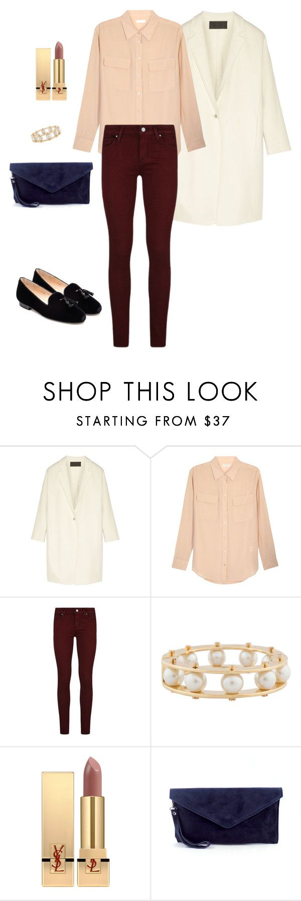"""silk blouse and skinny jeans"" by yuri-writer on Polyvore featuring Donna Karan, Equipment, Paige Denim, Lele Sadoughi, Yves Saint Laurent and Jon Josef"