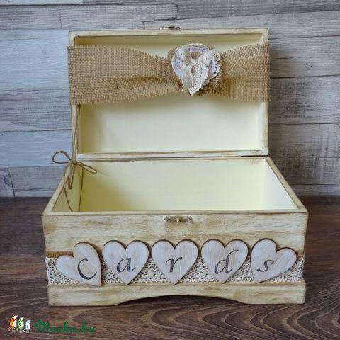 Esküvőre pénzgyűjtő doboz vintage rusztikus kártyagyűjtő doboz láda fadoboz, Esküvő, Esküvői dekoráció, Nászajándék, Gyűrűpárna, Meska