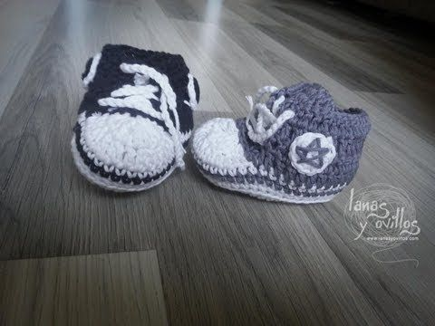 ▶ Tutorial Zapatillas Bebé Crochet Tipo Converse Paso a Paso en Español - YouTube