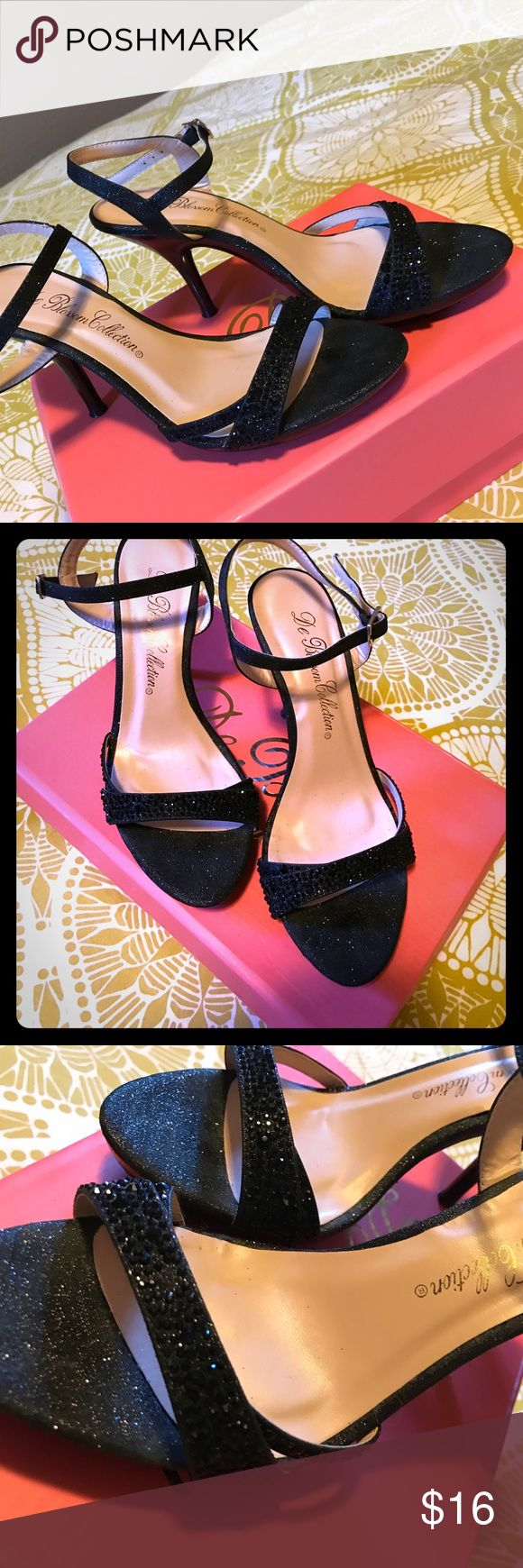 Black rhinestone & glitter stilettos Worn twice. Good condition. Rhinestone and glitter with gold accent. De Blossom Shoes Heels