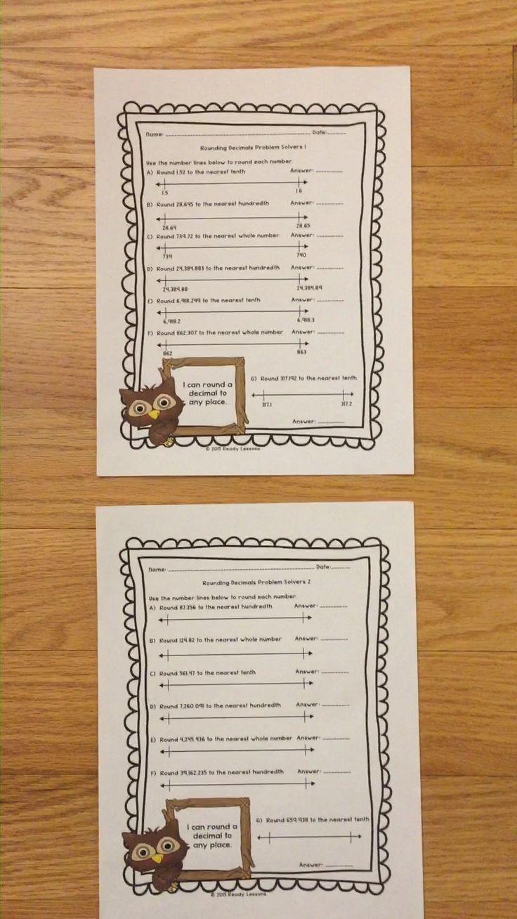Rounding Decimals Worksheets 5th Grade Math 5.NBT.4 [Video