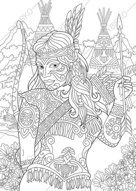 Coloring Pages For Adults Native American Indian Woman Adult Coloring Pages Digital Jpg Pdf Coloring Page Instant Download Print Native American Drawing Coloring Pages Animal Coloring Books
