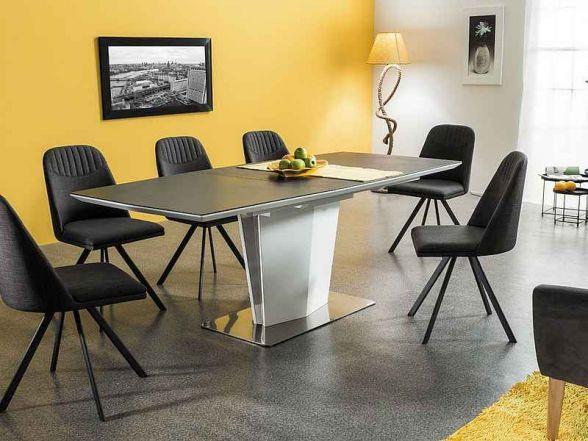 Stół LAZZIO jest fantastyczny do jadalni. Stół wykonany jest z wysokiej jakości białego MDFu, który znajduje się zarówno na blacie oraz w podstawie.