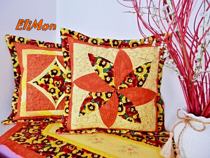 spring pillow orange-yellow